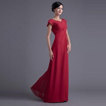 Long Red A-line V-Neck Short Sleeves Zipper Ruched Bridesmaid Dresses / Prom Dresses 2019 Chiffon Modest