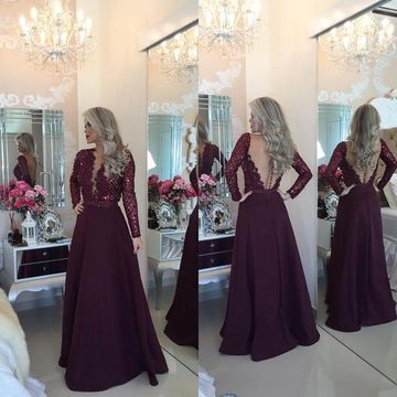 Sexy Red A-line V-Neck Long Sleeves Backless Prom Dresses 2018 Open Back Lace
