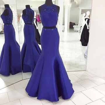 Long Junior Blue Mermaid Sleeveless Zipper Beading Prom Dresses 2018 Open Back Sexy Two Piece