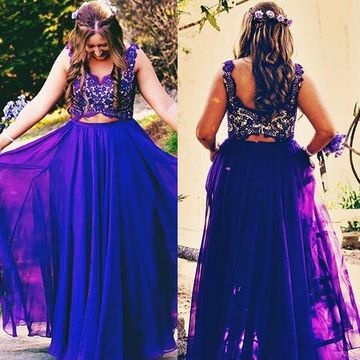 Long Plus Size Purple A-line Straps Sleeveless Zipper Prom Dresses 2018 Chiffon Lace