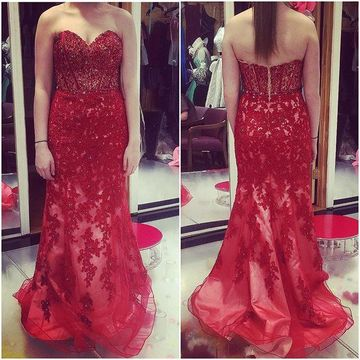 Red Prom Dresses 2017 Sweetheart Appliques Mermaid Tulle