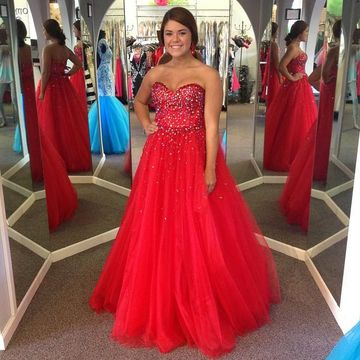 49%OFF Long Junior Red Ball Gown Sweetheart Sleeveless Beading Prom ...