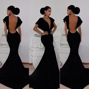 Long Sexy Black Mermaid V-Neck Short Sleeves Backless Prom Dresses 2018 Open Back