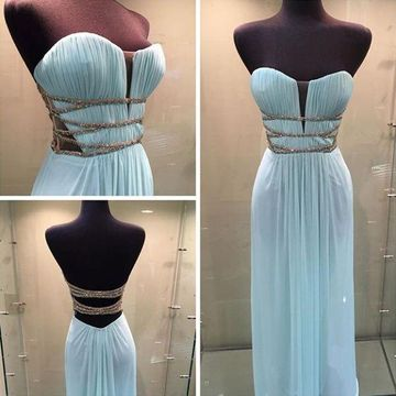 Long Sexy Blue Sweetheart Sleeveless Criss Cross Prom Dresses 2019 Chiffon