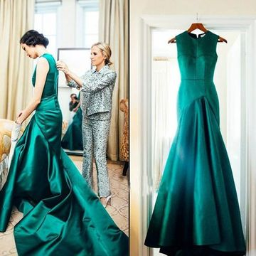 Long Mermaid Sleeveless Zipper Prom Dresses 2018