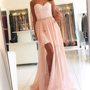 Long Junior Pink A-line Sweetheart Sleeveless Beading Prom Dresses 2018 Chiffon Lace