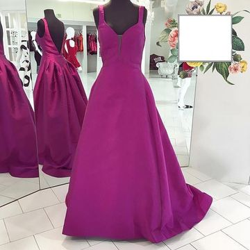 5edb5afe154 49%OFF Long Junior Purple A-line Straps Sleeveless Backless Prom ...