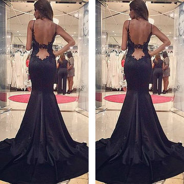 Long Sexy Black Mermaid Spaghetti Straps Sleeveless Backless Prom Dresses 2018 Open Back Lace