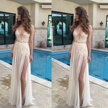 Long Sexy A-line V-Neck Sleeveless Backless Appliques Prom Dresses 2018 Open Back Chiffon