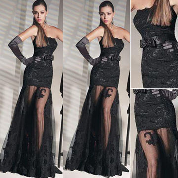 Sexy Black Mermaid Strapless Sleeveless Prom Dresses 2018 Lace