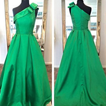 Long Green Ball Gown One Shoulder Zipper Sash/Ribbon Prom Dresses 2018