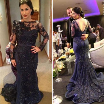 Mermaid Long Sleeves Backless Appliques Prom Dresses 2018 Open Back