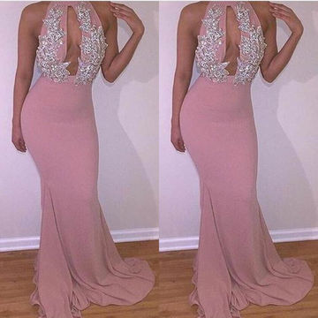 Long Sexy Mermaid Halter Sleeveless Appliques Prom Dresses 2018