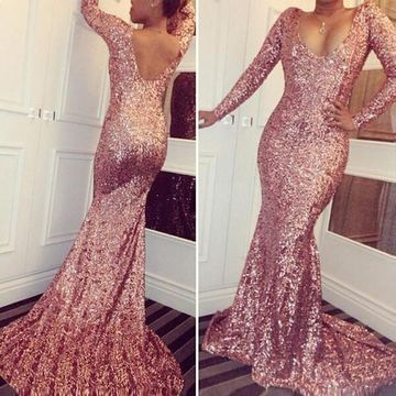 Sexy Mermaid Long Sleeves Backless Sequins Prom Dresses 2018 Open Back Chiffon