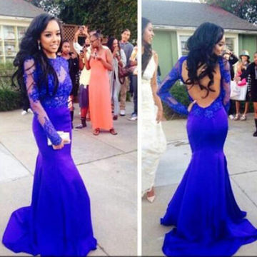 Lace Blue Mermaid Prom Dress