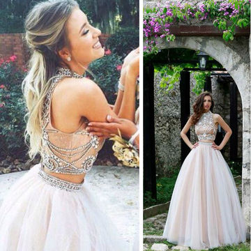 2018 Beaded High Neck Prom Dresses Pics