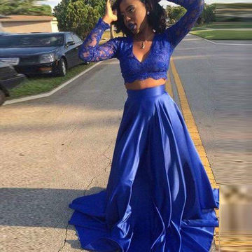 Sexy Blue A-line V-Neck Long Sleeves Prom Dresses 2018 Lace Two Piece