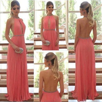 Long Sexy A-line Halter Sleeveless Backless Pleats Prom Dresses 2019 Open Back Chiffon