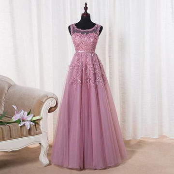 Long Modest A-line Sweetheart Sleeveless Appliques Prom Dresses 2018 Sexy