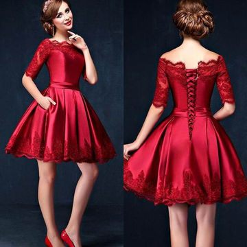 49%OFF Cute Red A-line Half Sleeves Corset Prom Dresses 2018 Lace ...