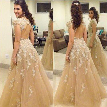 Long Ball Gown Capped Sleeves Backless Beading Prom Dresses 2018 Open Back
