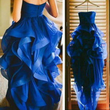 Long Sexy Blue A-line Spaghetti Straps Sleeveless Zipper Ruffles Prom Dresses 2018