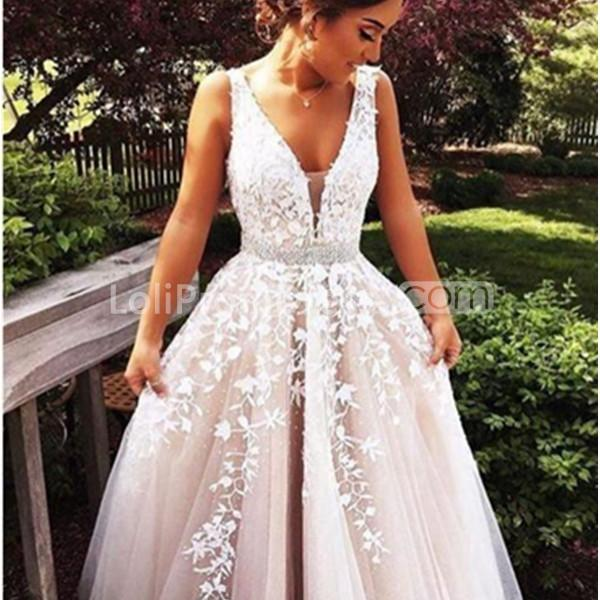 2018 Fashion Simple Beige Wedding Dresses Full Sleeve: 49%OFF Long Beige/Champagne Ball Gown V-Neck Sleeveless