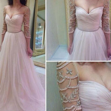 Long Sexy A-line Sweetheart 3/4 Length Sleeves Zipper Beading Prom Dresses 2018 Long Sleeves