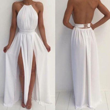 Cheap Long Sexy White A-line Halter Sleeveless Backless Prom Dresses 2018 Open Back Chiffon