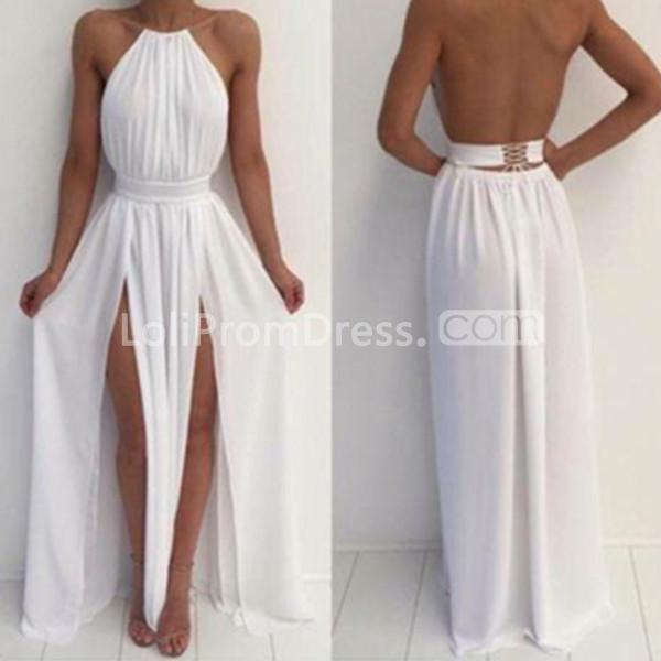 49 off cheap long sexy white a line halter sleeveless backless prom dresses 2018 open back. Black Bedroom Furniture Sets. Home Design Ideas