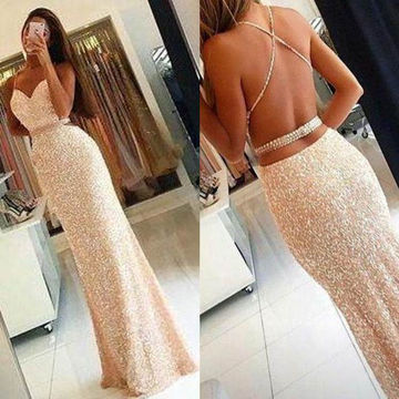Long Sexy Sheath Spaghetti Straps Sleeveless Backless Beading Prom Dresses 2018 Open Back