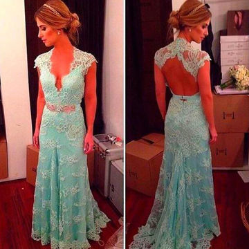 Long Cute Sheath Queen Anne Sleeveless Zipper Prom Dresses 2018 Lace Sexy