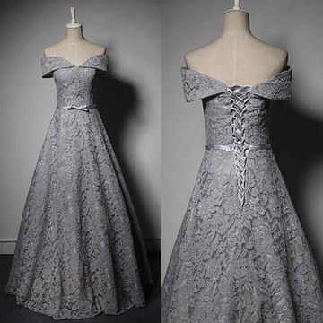 Long Vintage Grey A-line Sleeveless Corset Bow(s) Prom Dresses 2018 Lace