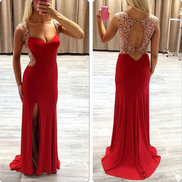 Long Red Sheath Queen Anne Sleeveless Backless Beading Prom Dresses 2018 Open Back