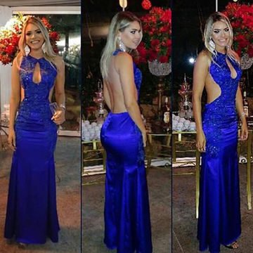 Long Sexy Blue Sheath Sleeveless Backless Appliques Prom Dresses 2018 Open Back