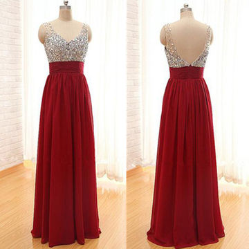 Long Sexy Red A-line V-Neck Sleeveless Backless Beading Prom Dresses 2018 Open Back Chiffon