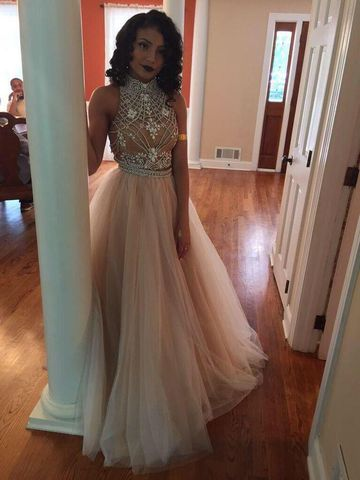 49%OFF Long Sexy Beige/Champagne Ball Gown Halter Sleeveless Beading ...