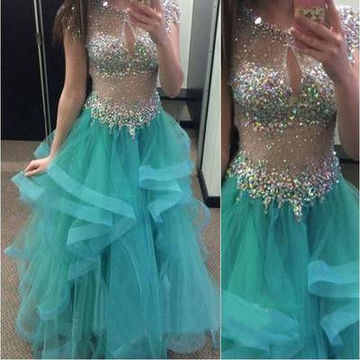 Long Ball Gown Jewel Short Sleeves Zipper Beading Prom Dresses 2018 Sexy