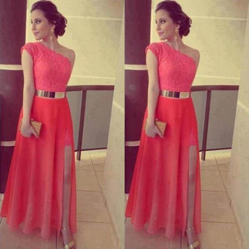 Long Red A-line One Shoulder Sleeveless Zipper Split Front Prom Dresses 2018 Lace