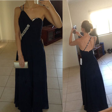 Long Sexy Black A-line One Shoulder Sleeveless Zipper Criss Cross Prom Dresses 2018 Chiffon