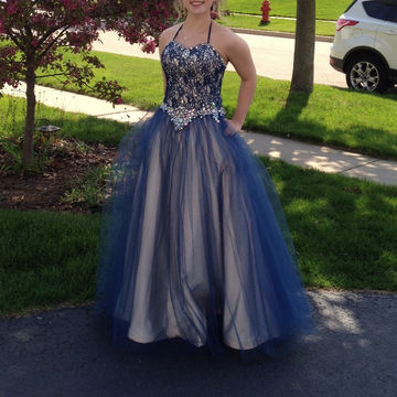 Long Plus Size Sexy Blue Ball Gown Halter Sleeveless Corset Beading Prom Dresses 2019