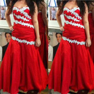 a97c6bb17bf Red Sweetheart Appliques Floor-length Mermaid Satin Prom Dresses 2017 –  lolipromdress.com