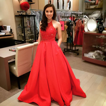 Long Elegant Red A-line Halter Sleeveless Beading Prom Dresses 2018