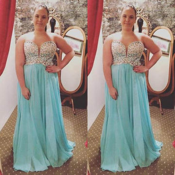 Long Plus Size Blue A-line Sweetheart Sleeveless Beading Prom Dresses 2018 Chiffon