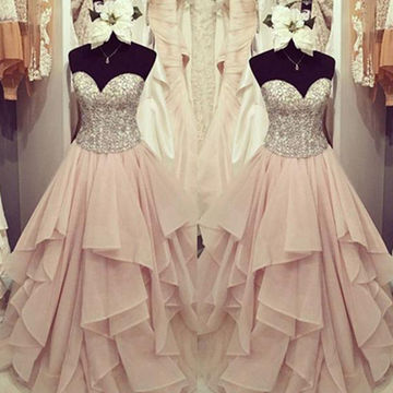 Long Ball Gown Sweetheart Sleeveless Beading Prom Dresses 2018 A-line