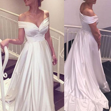 Long White A-line Off-the-Shoulder Zipper Prom Dresses 2018
