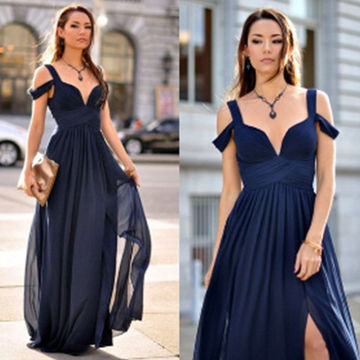 Long Blue A-line Straps Sleeveless Split Front Prom Dresses 2019 Chiffon