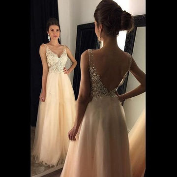 Long A-line V-Neck Sleeveless Backless Beading Prom Dresses 2018 Open Back