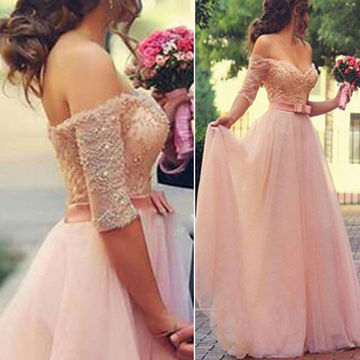 Long A-line Off-the-Shoulder Half Sleeves Zipper Beading Prom Dresses 2018