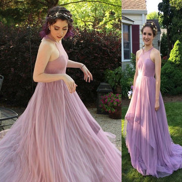 Long A-line Sleeveless Tiers Prom Dresses 2018